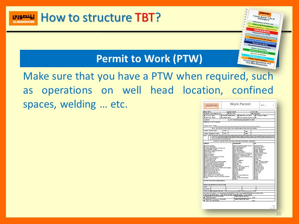 How to structure TBT Permit to Work (PTW)