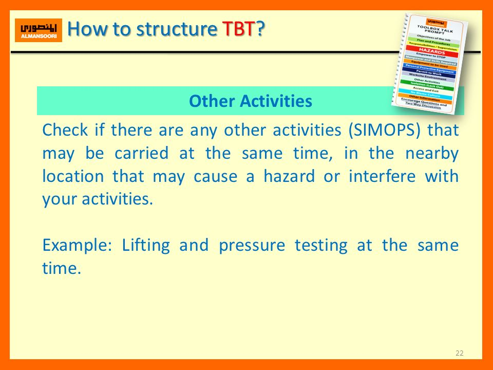 How to structure TBT Other Activities