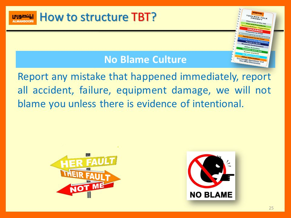 How to structure TBT No Blame Culture