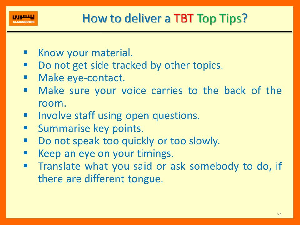 How to deliver a TBT Top Tips