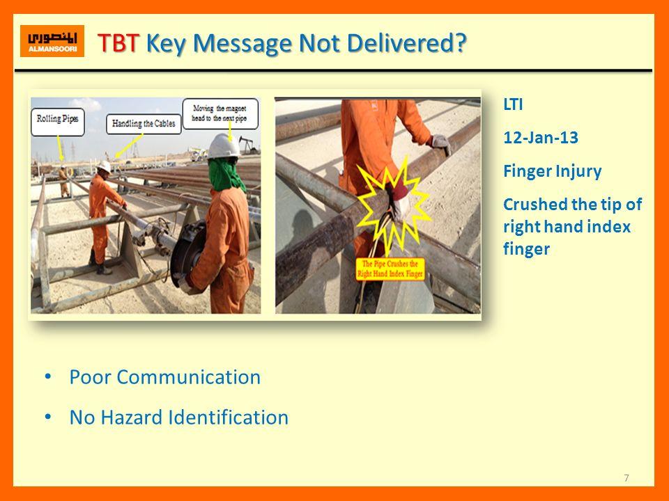 TBT Key Message Not Delivered