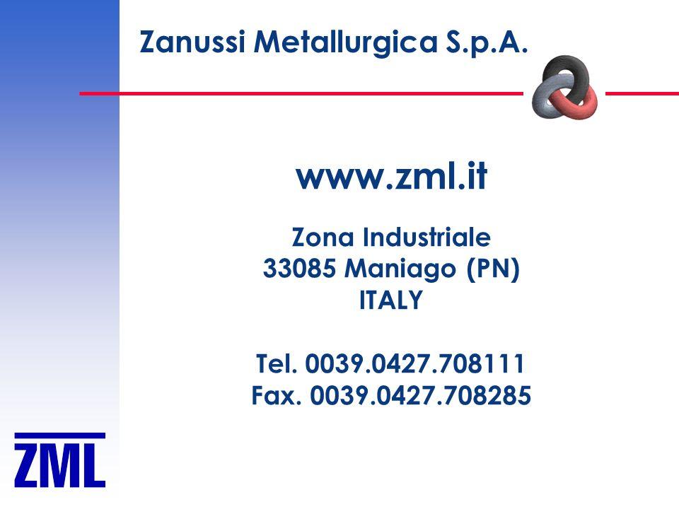 www.zml.it Zanussi Metallurgica S.p.A. Zona Industriale