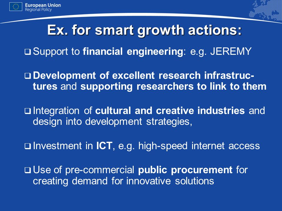 Ex. for smart growth actions:
