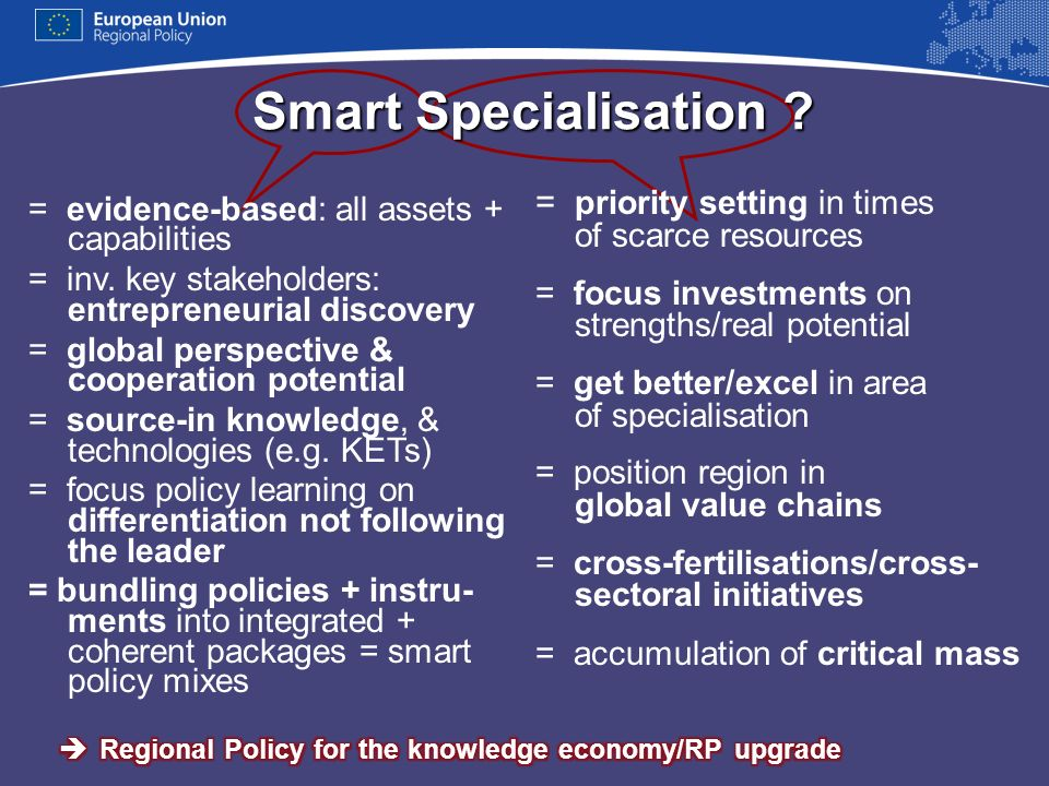 Smart Specialisation = priority setting in times of scarce resources