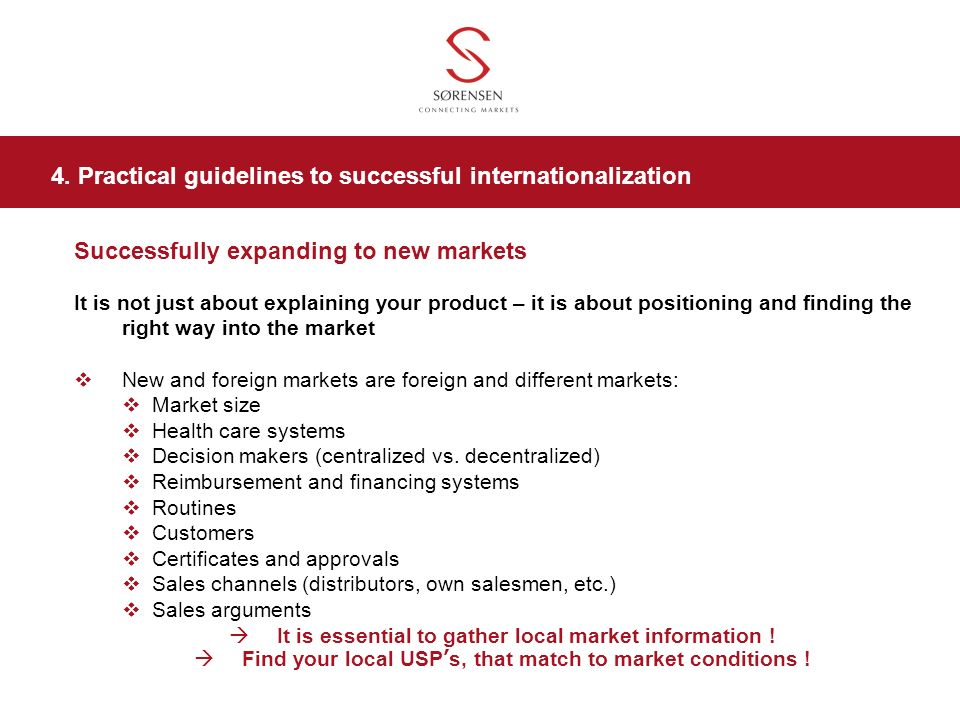4. Practical guidelines to successful internationalization