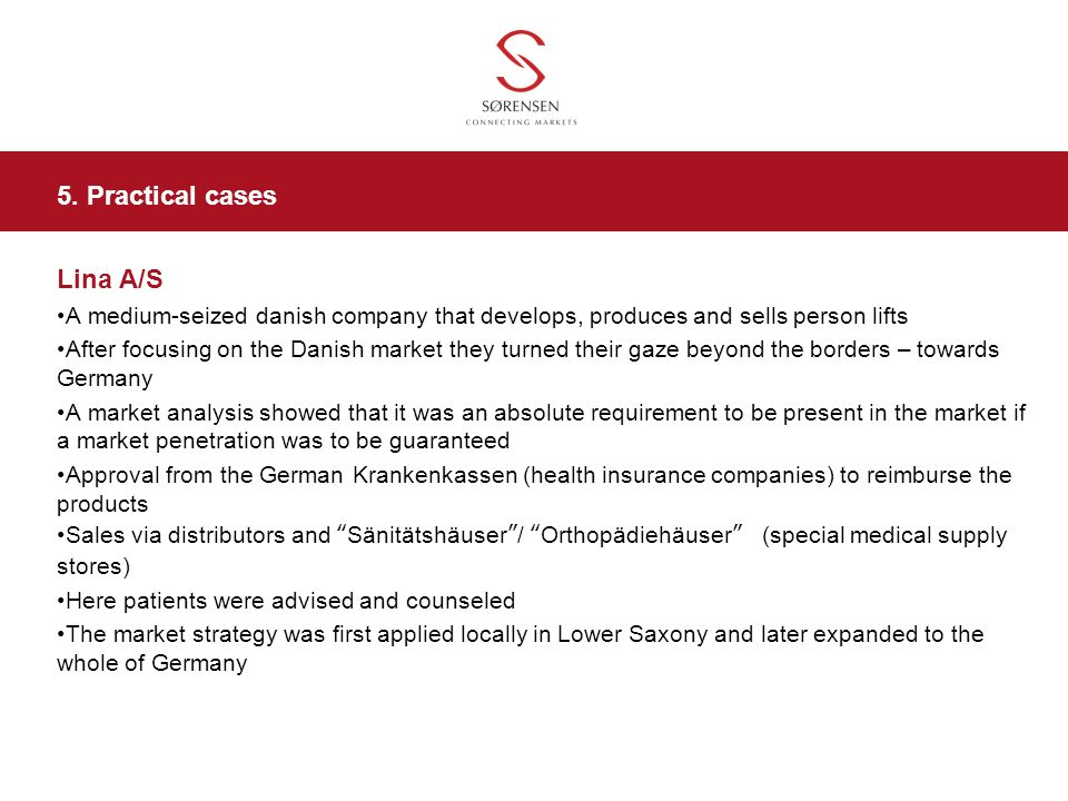 5. Practical cases Lina A/S