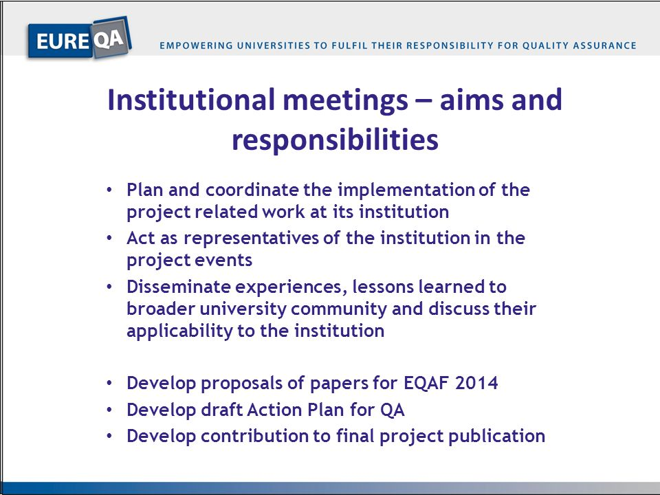 Institutional meetings – aims and responsibilities