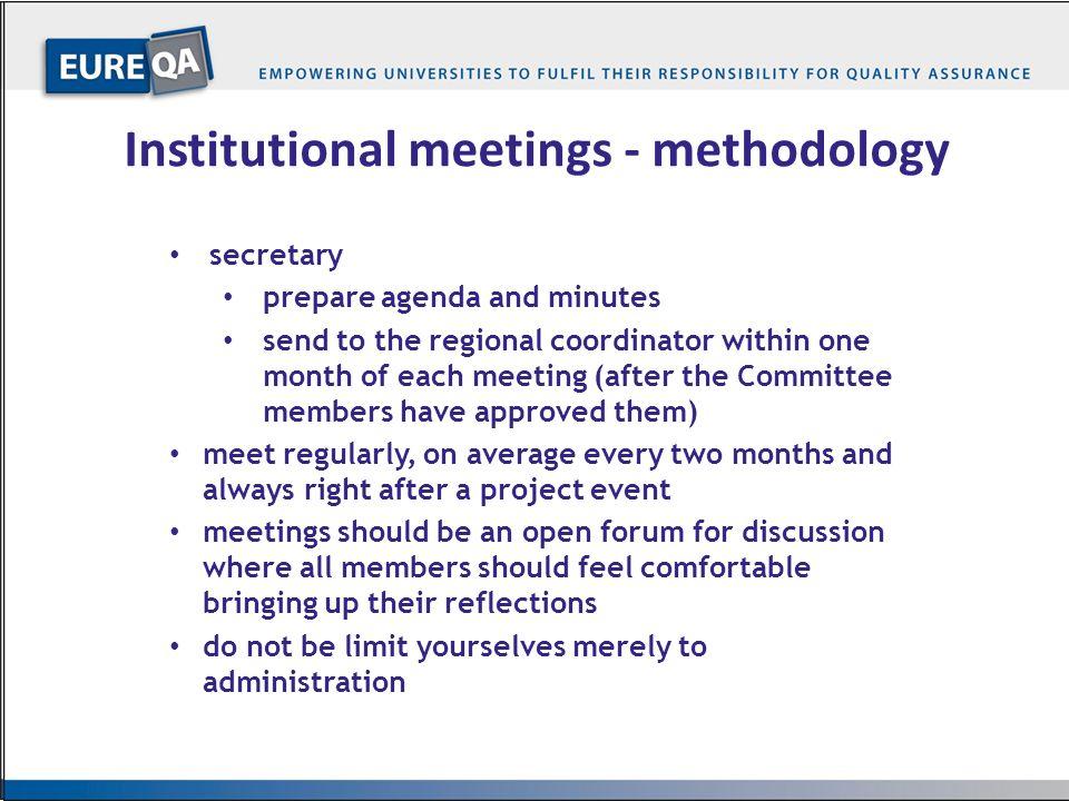 Institutional meetings - methodology