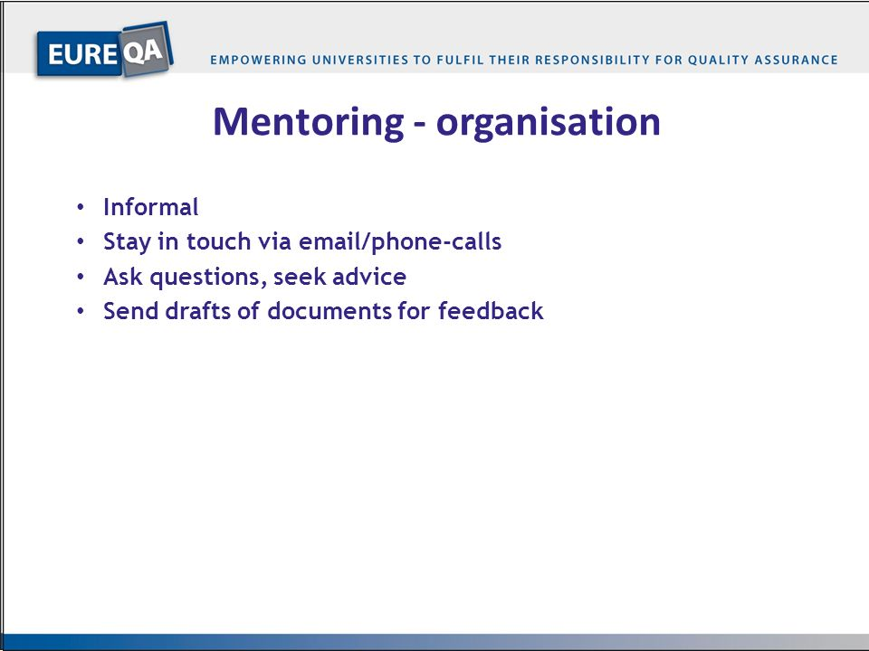 Mentoring - organisation