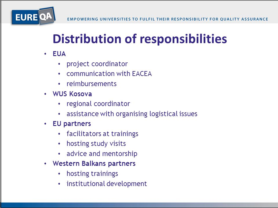 Distribution of responsibilities