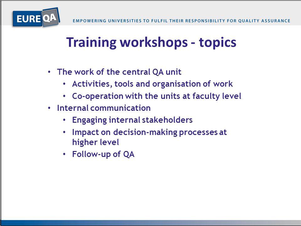 Training workshops - topics