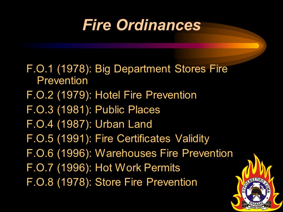Fire Ordinances F.O.1 (1978): Big Department Stores Fire Prevention