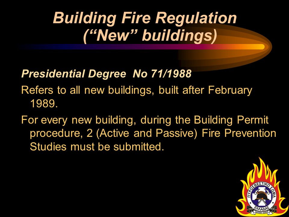 Building Fire Regulation ( New buildings)