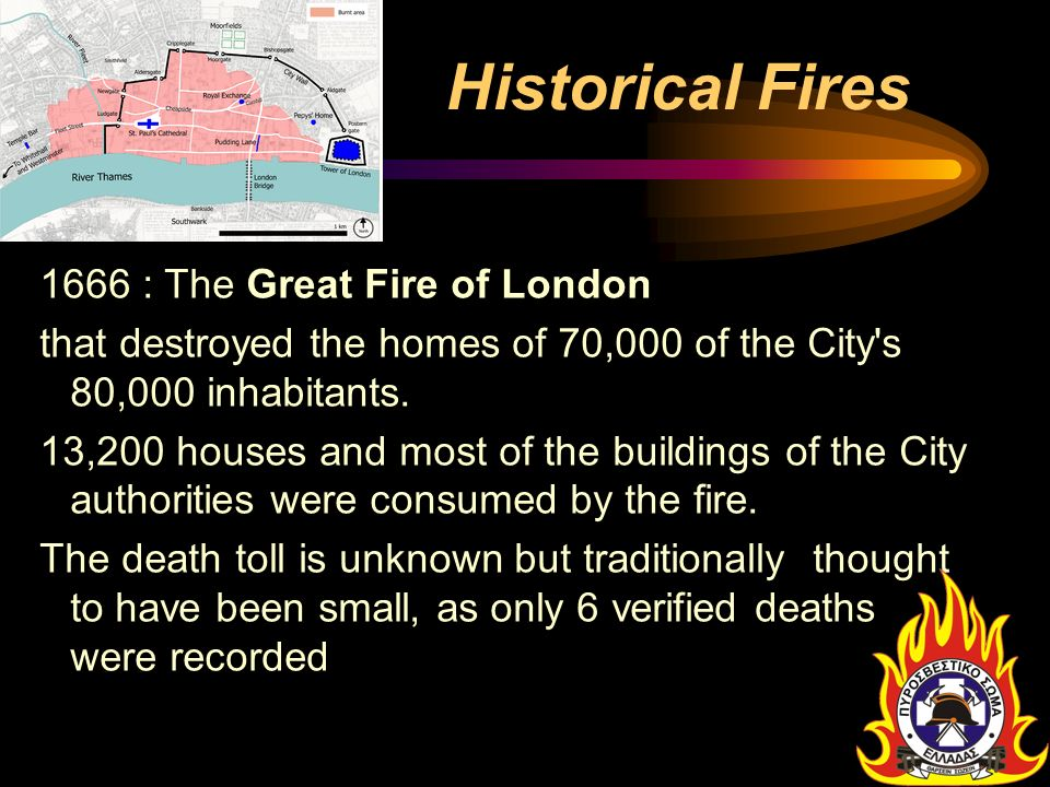Historical Fires 1666 : The Great Fire of London. that destroyed the homes of 70,000 of the City s 80,000 inhabitants.