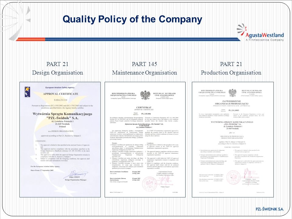 Quality Policy of the Company