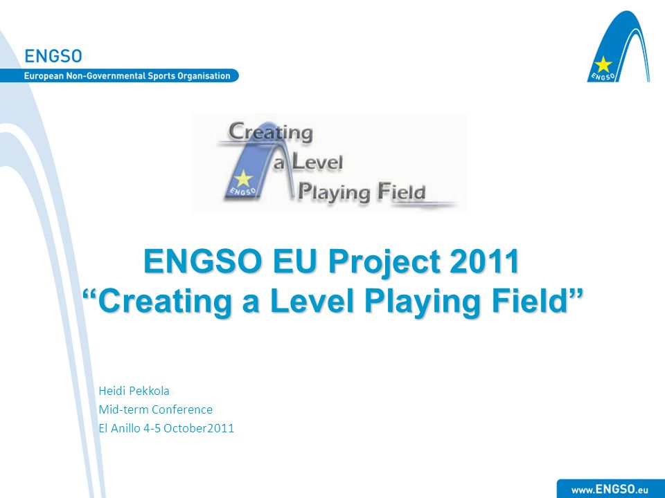 ENGSO EU Project 2011 Creating a Level Playing Field