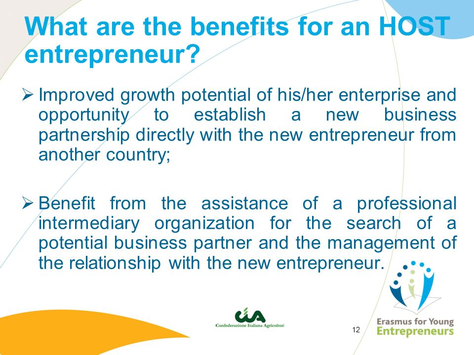 What are the benefits for an HOST entrepreneur