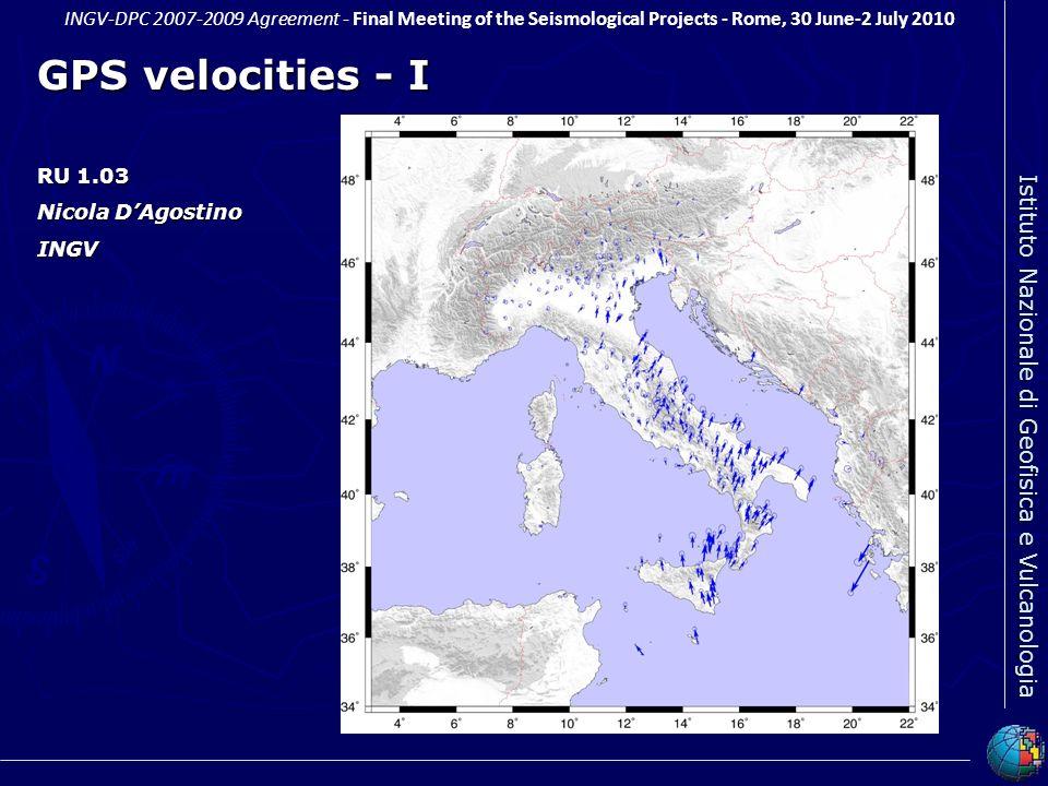 GPS velocities - I RU 1.03 Nicola D'Agostino INGV