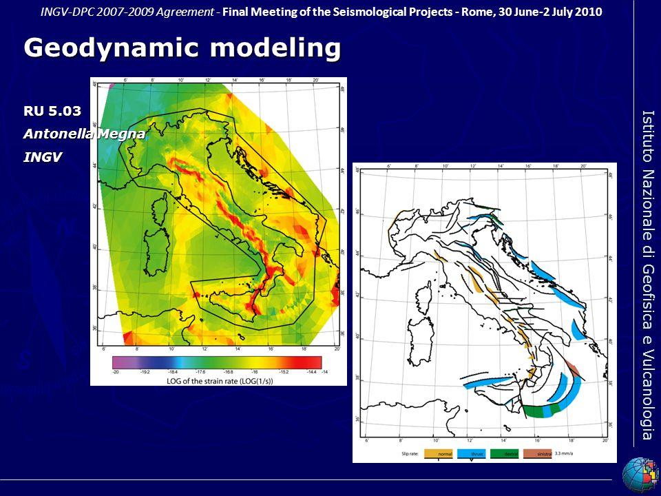 Geodynamic modeling RU 5.03 Antonella Megna INGV