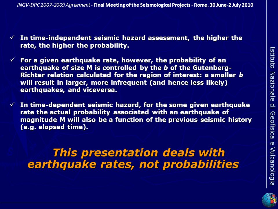 This presentation deals with earthquake rates, not probabilities