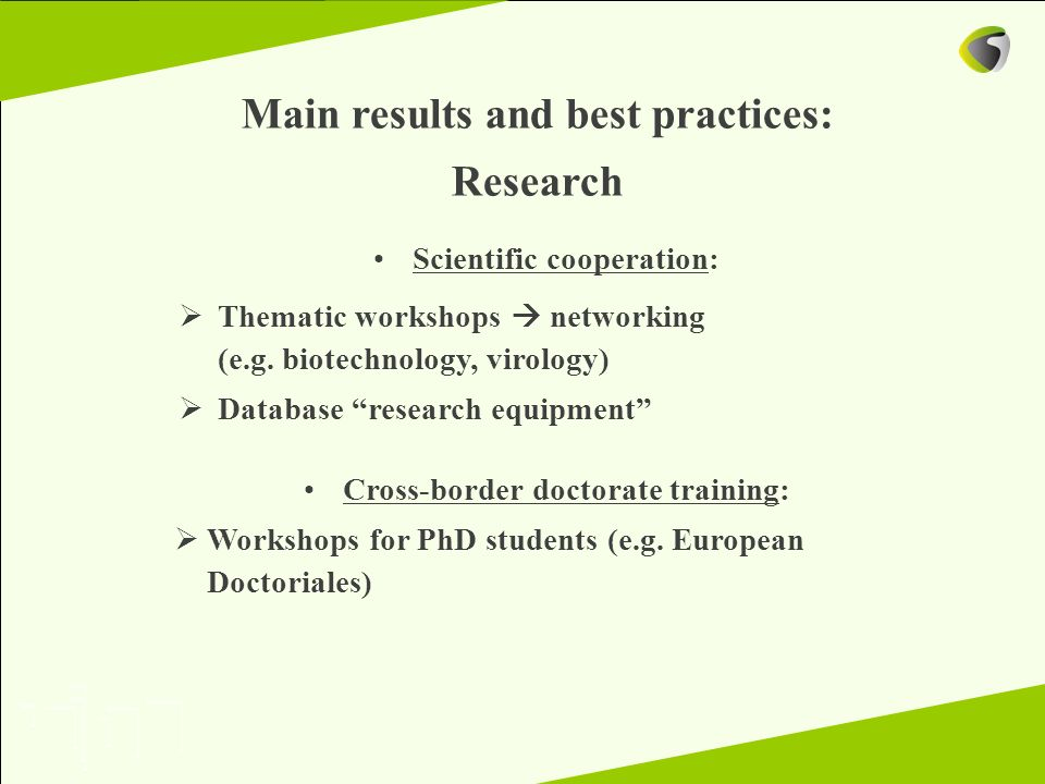 Main results and best practices: Research