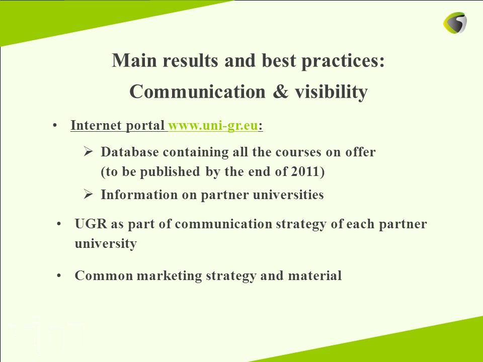 Main results and best practices: Communication & visibility