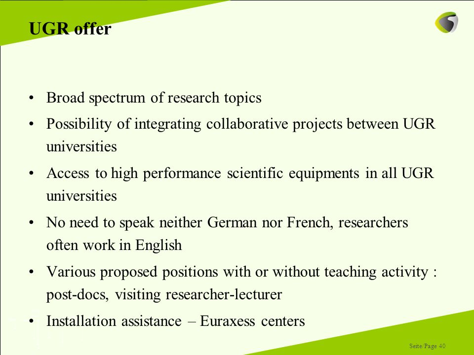 UGR offer Broad spectrum of research topics