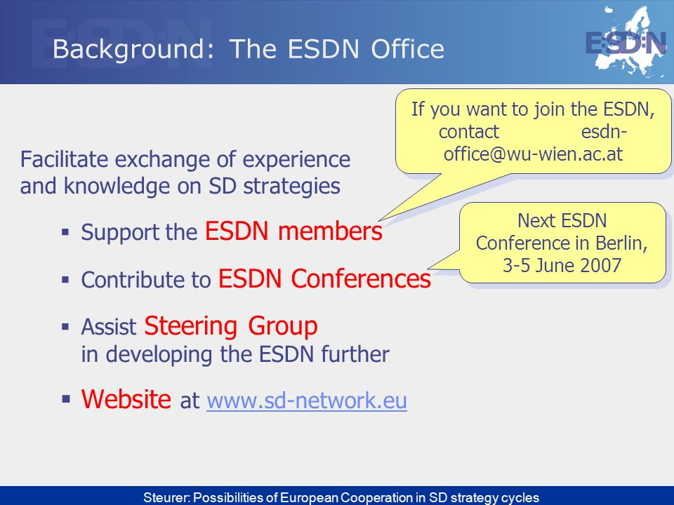 Background: The ESDN Office