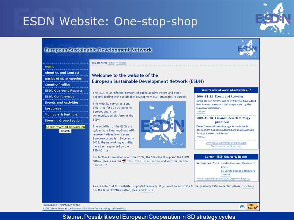 ESDN Website: One-stop-shop