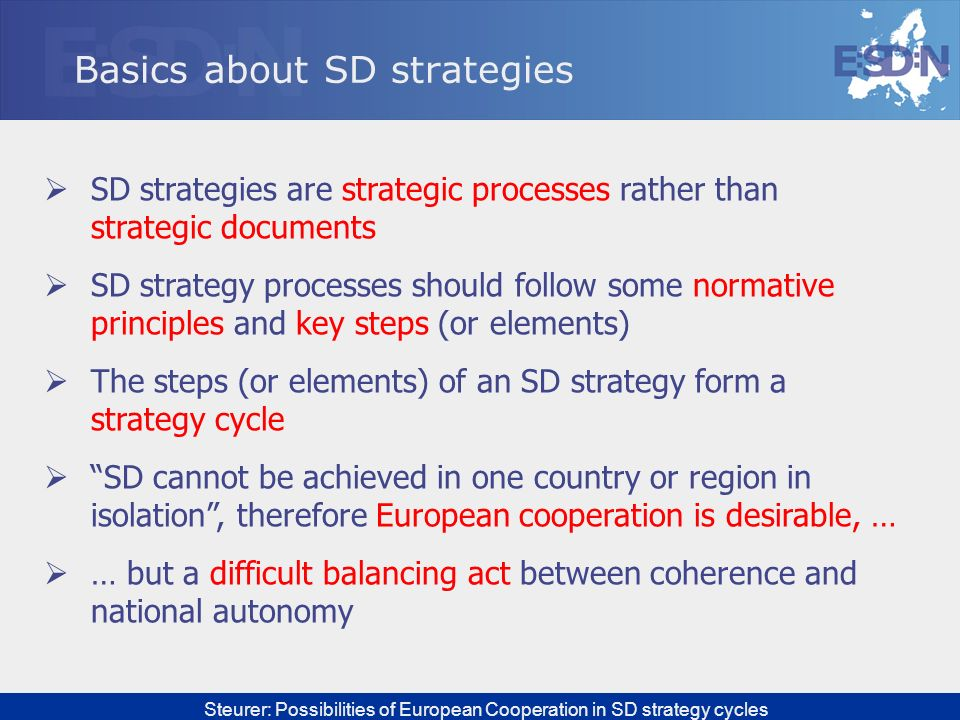 Basics about SD strategies