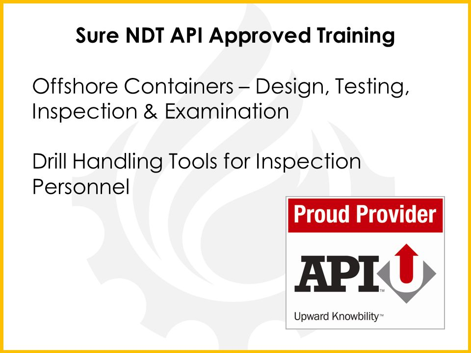 Sure NDT API Approved Training