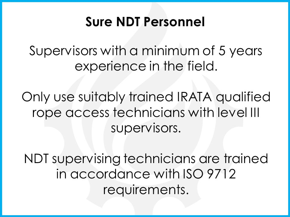 Supervisors with a minimum of 5 years experience in the field.