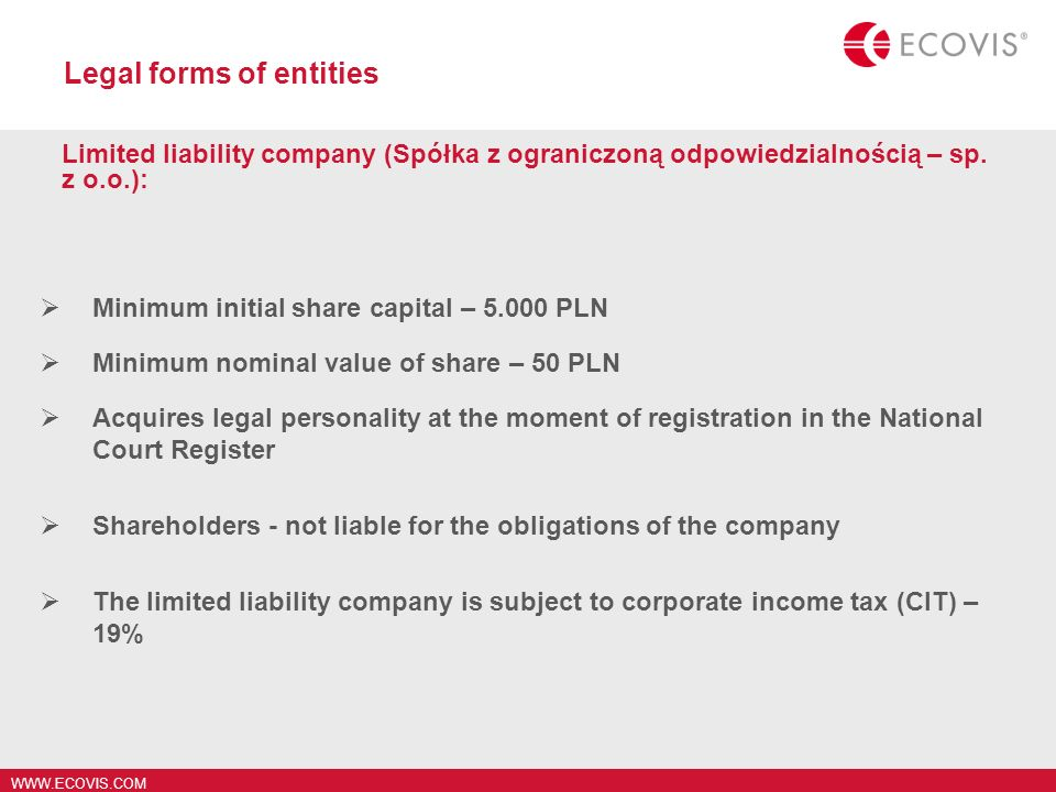 Legal forms of entities