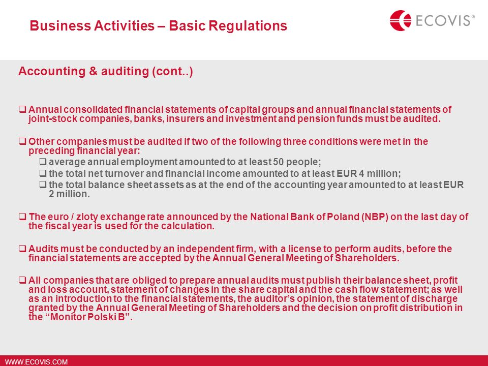 Business Activities – Basic Regulations