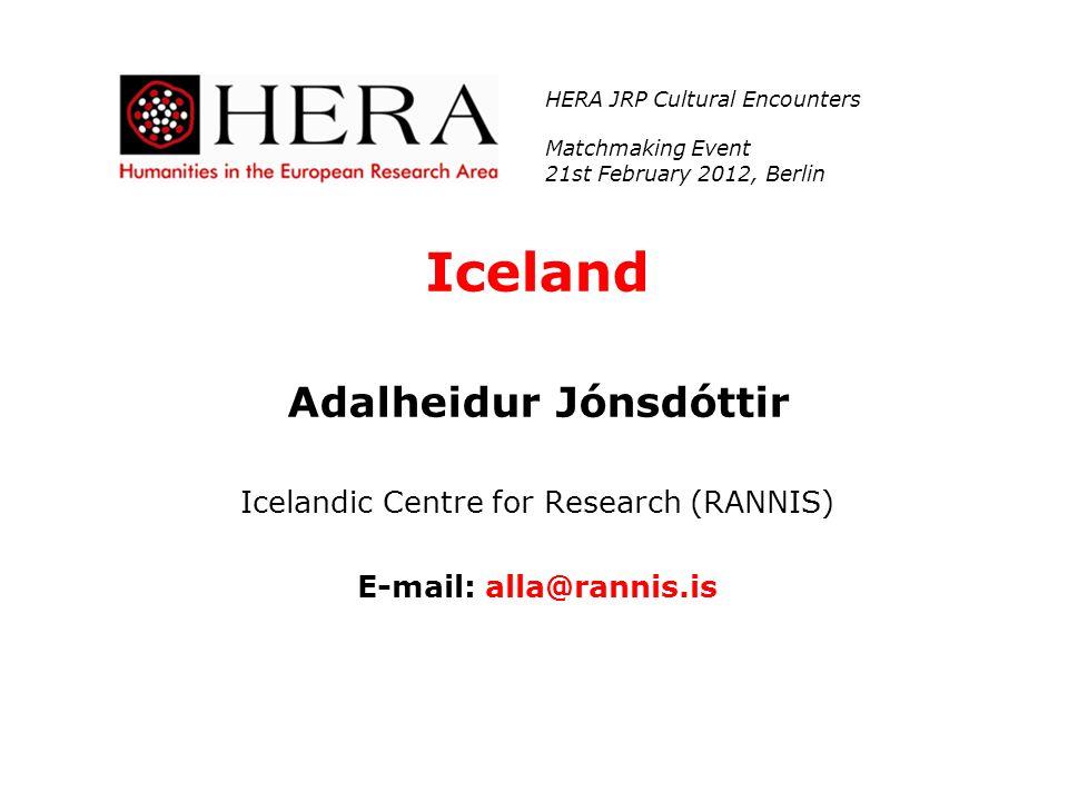 Adalheidur Jónsdóttir E-mail: alla@rannis.is