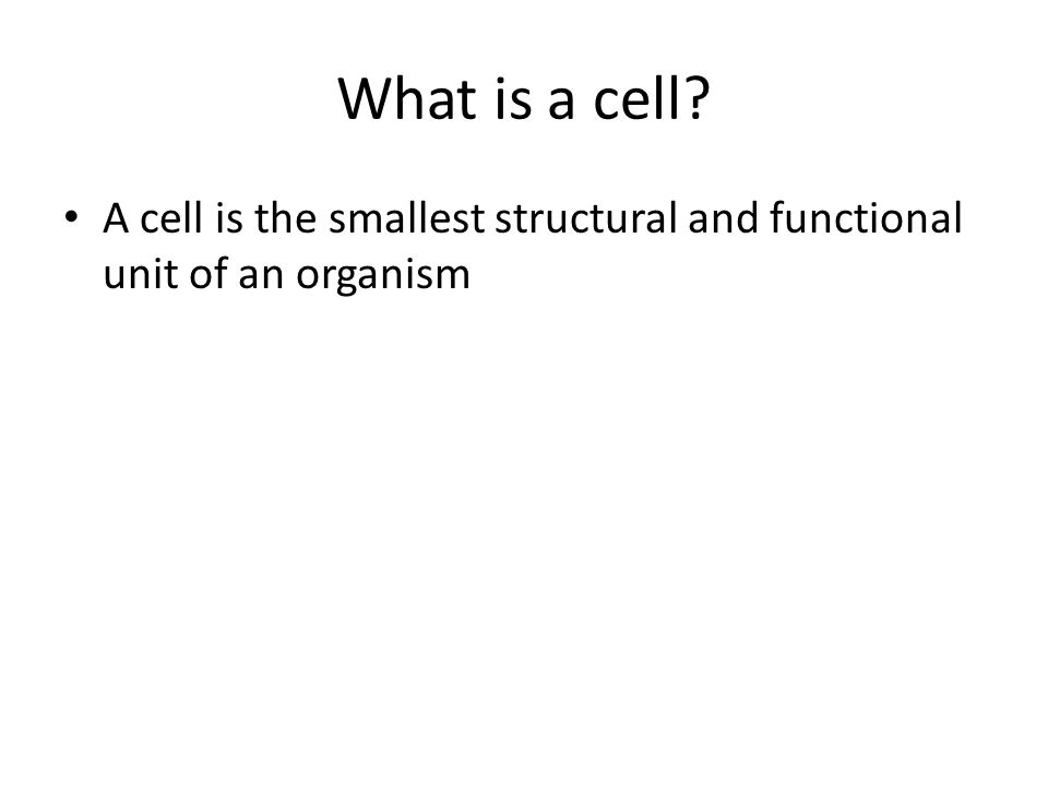 What is a cell A cell is the smallest structural and functional unit of an organism