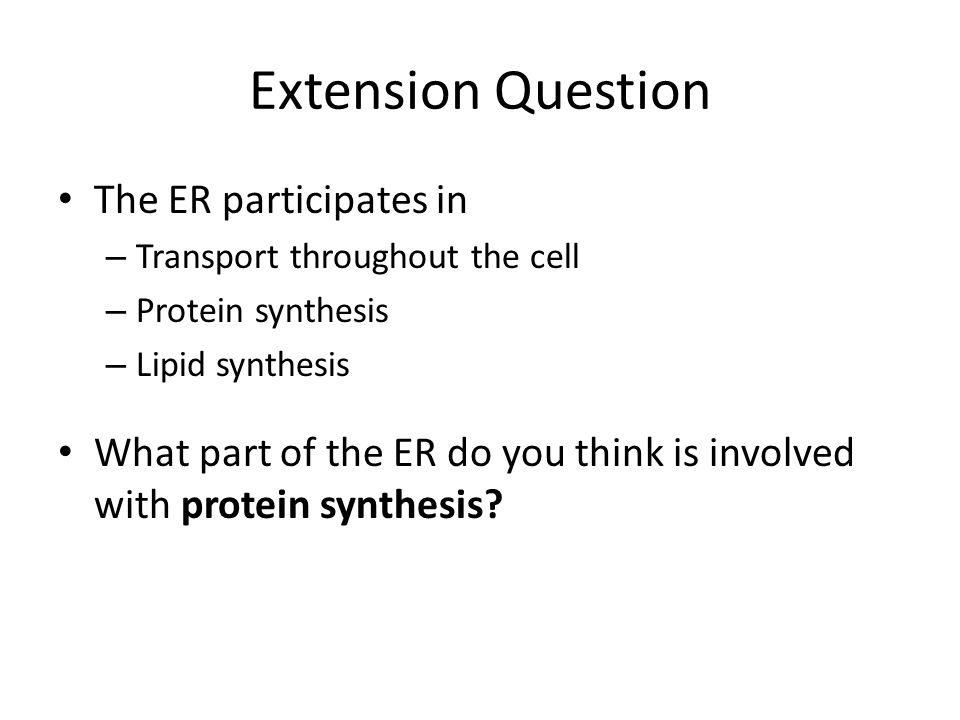 Extension Question The ER participates in
