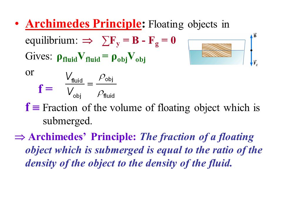 Archimedes Principle A Floating Objects In