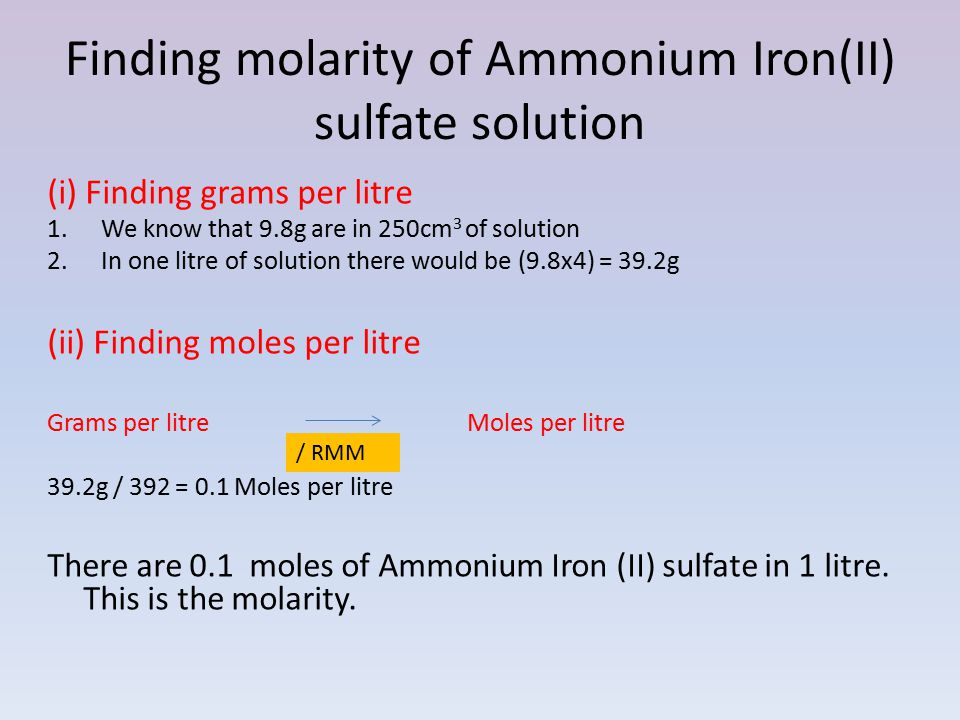 Finding molarity of Ammonium Iron(II) sulfate solution