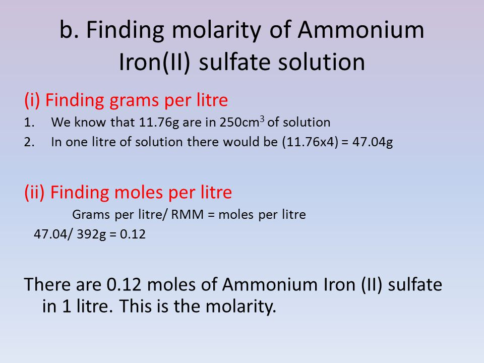 b. Finding molarity of Ammonium Iron(II) sulfate solution