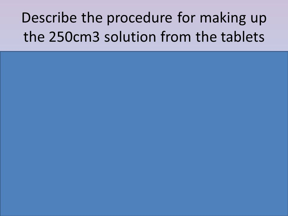 Describe the procedure for making up the 250cm3 solution from the tablets