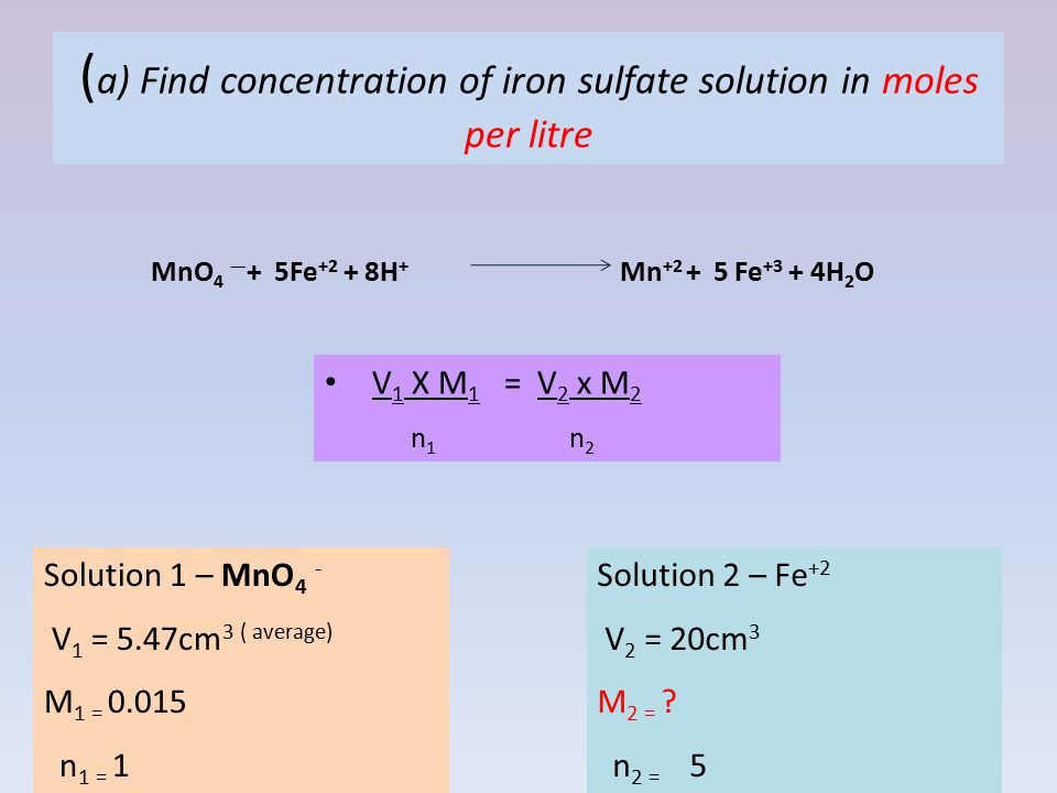 (a) Find concentration of iron sulfate solution in moles per litre