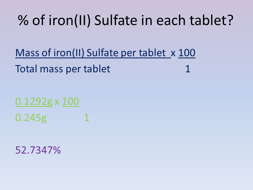 % of iron(II) Sulfate in each tablet