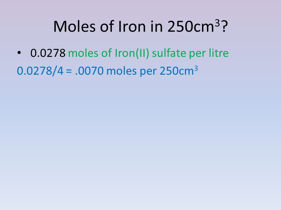 Moles of Iron in 250cm moles of Iron(II) sulfate per litre