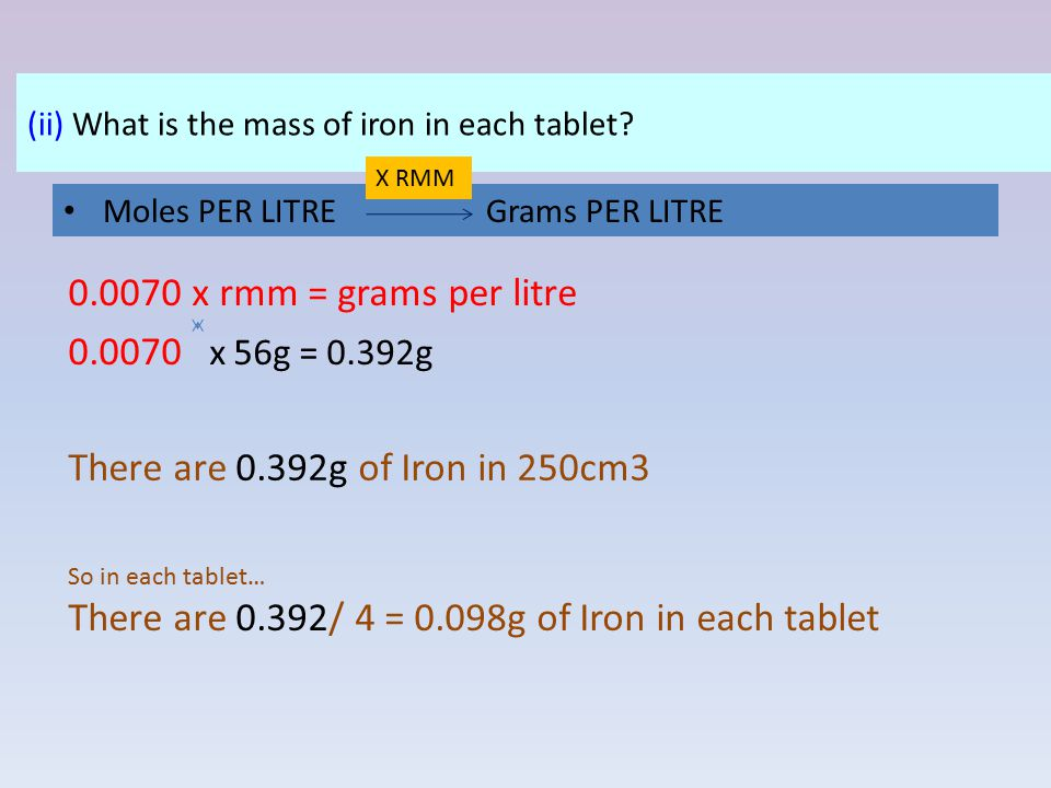 There are 0.392/ 4 = 0.098g of Iron in each tablet