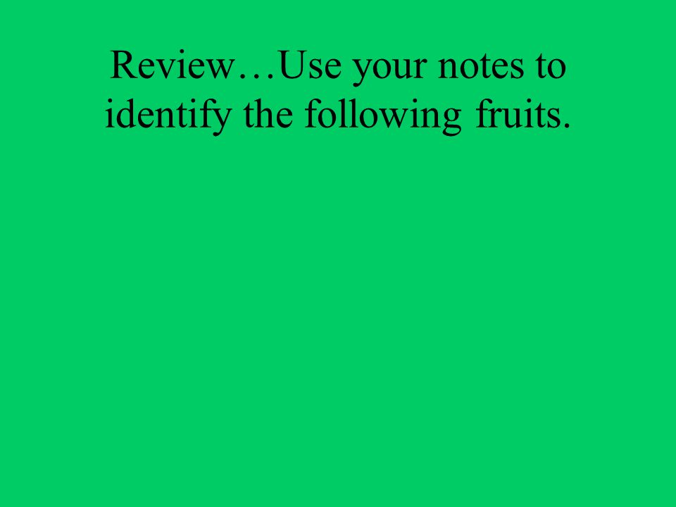 Review…Use your notes to identify the following fruits.