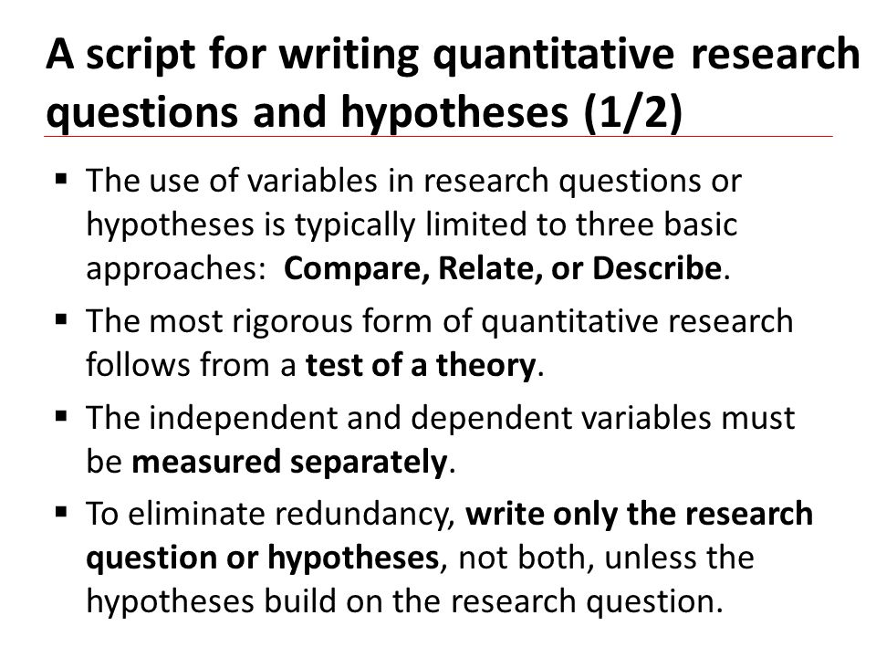 Writing Good Quantitative Research Questions