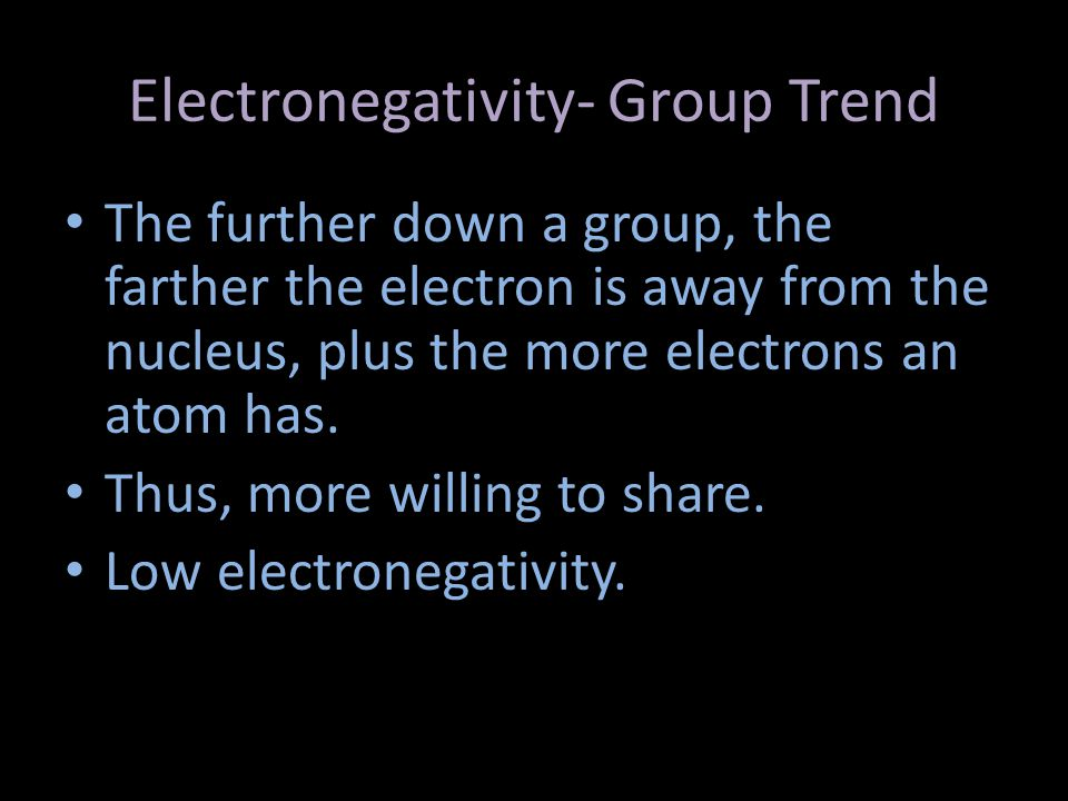 Electronegativity- Group Trend