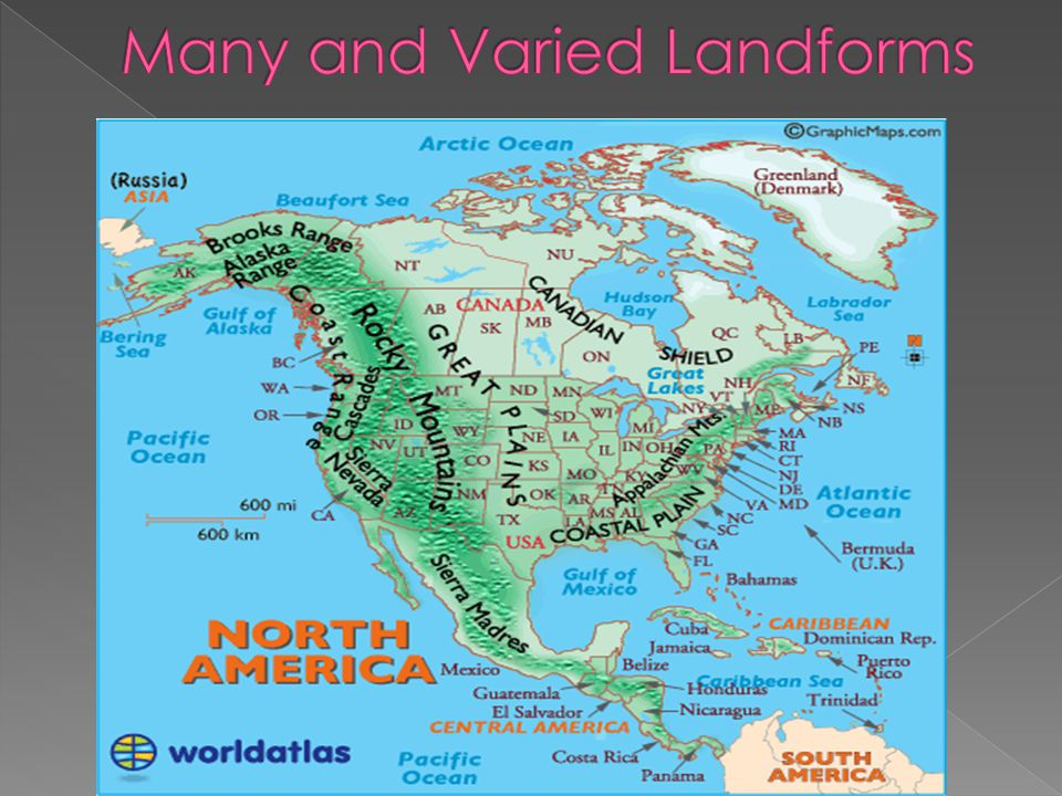 North America Map Landforms - Landforms of the united states