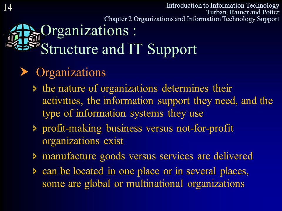Organizations : Structure and IT Support